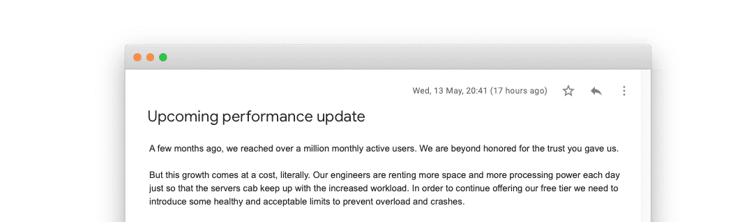 Performance update email